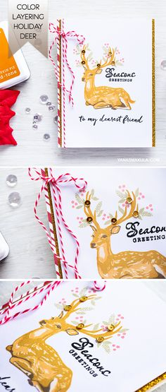 Create beautiful Christmas card using Hero Arts Color Layering Deer stamp. For details and additional inspiration, visit http://www.yanasmakula.com/?p=54782