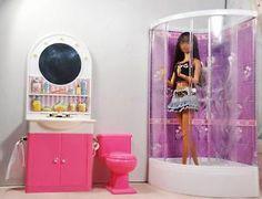1 Set Dollhouse Furniture Bathroom+Shower+Toilet Table + Bathtub For Barbie Barbie Furniture, Dollhouse Furniture, Furniture Sets Design, Barbie Bathroom, Barbie Miniatures, Dollhouse Miniatures, Barbie Dream House, Bathroom Furniture, Home Accessories