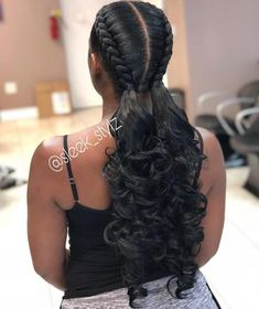 Pigtail Braids With Low Curly Ponytails # Braids with weave cornrows 60 Inspiring Examples of Goddess Braids Black Hair Hairstyles, Box Braids Hairstyles, Girl Hairstyles, Protective Hairstyles, Teenage Hairstyles, Pretty Hairstyles, Trendy Haircuts, Simple Hairstyles, Hairstyles 2016