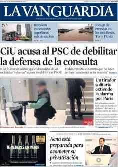 Los Titulares y Portadas de Noticias Destacadas Españolas del 19 de Noviembre de 2013 del Diario La Vanguardia ¿Que le pareció esta Portada de este Diario Español?