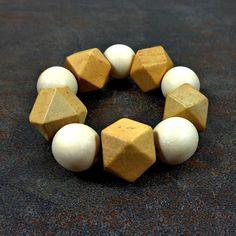 Statement Bracelet  Wood Bracelet Tan White Geometric by Pilboxx