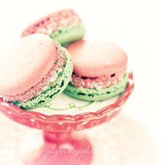 Peppermint Macarons - romantic shabby chic sweet photograph decor confection dessert food cream green pink mint girl glam pretty for her. $30.00, via Etsy.