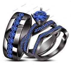 2.80 Carat Round Blue Sapphire in 14K Black Gold Finish His & Her Trio Ring Set