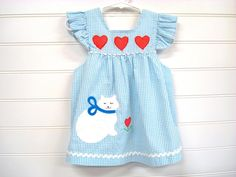 Vintage Baby Clothes/Baby Girl Dress Blue and by OnceUponADaizy, $15.00