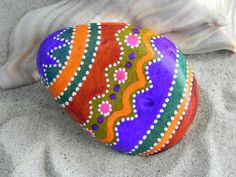 Fresh From The Easter Bunny's Basket...painted glaze sea stone from Cape Cod, www.LoveFromCapeCod.etsy.com