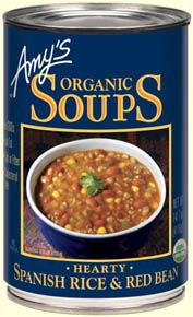 Amy's Spanish Rice and Red Beans is a robust soup that combines organic brown rice with organic red beans, tomatoes, onions, bell peppers, corn and green chiles.