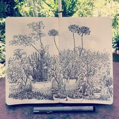 """Blumengarten"" in my #Moleskine #Sketchbook. Spent my Sunday morning in our…"