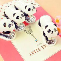 Mini Panda Stapler Set Kawaii Panda Cartoon Paper Binder Within 1000pcs Staples Office School Supplies Material Escolar