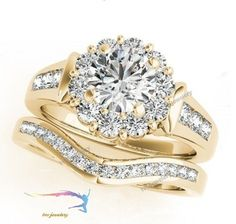 14k Yellow Gold Over Round Cut Diamond Bridal Set Engagement Ring & Wedding Band #tvsjewelery