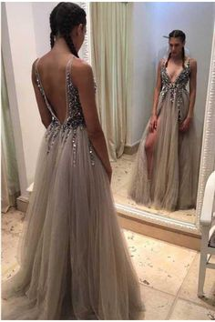 Outlet Engrossing Grey Prom Dresses, Long Prom Dresses, Sleeveless Prom Dresses, Rhinestone Prom Dresses, Floor-length Prom Dresses WF01G46-1011