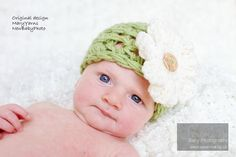 Newborn Beanie HAT with Flower in Green - Photography Baby photo prop. $24.00, via Etsy.