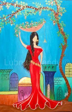 لبنى الافندي تشكيلية عراقية #بائعة_العنب #اكرلك_على_كنفس 91cm x 61cm Lubnaalafandy  Iraqi artist