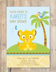 Lion King Baby Shower Invitation By FlurgDesigns On Etsy, £5.00