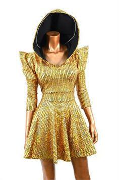 Gold Mermaid Scale Sharp Shoulder Hoodie Skater Dress