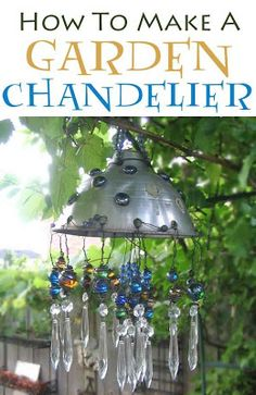 How to make an repurposed garden art/junk chandelier from a kitchen collander and flat marbles.