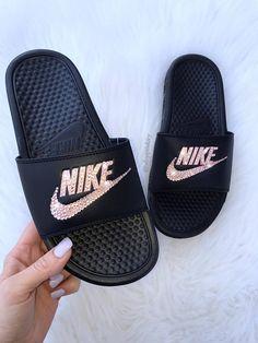 85aa19418648 Rose Gold Swarovski Nike Benassi Slide Sandals customized with Swarovski  Crystals