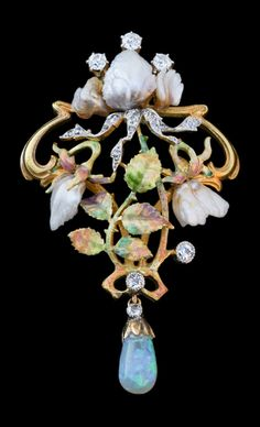 An Art Nouveau gold, platinum, enamel, diamond, opal and pearl brooch-pendant, English, circa 1895.