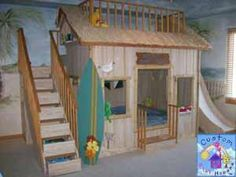 Nico's Surf Shack Themed Play/Loft Bed By Custom Playhouses