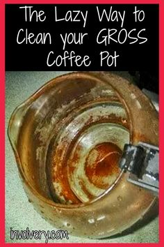 Coffee bar coffee pot cleaning tips! Clean burnt coffee pot - Lazy cleaning hacks for your kitchen - how to clean glass coffee pot - how to easily clean your gross coffee pot the LAZY way Microwave Cleaning Hack, Cleaning Your Dishwasher, Kitchen Cleaning, Cleaning Hacks, Cleaning Solutions, Cleaning Recipes, Cleaning Products, Tips And Tricks, Coffee Pot Cleaning