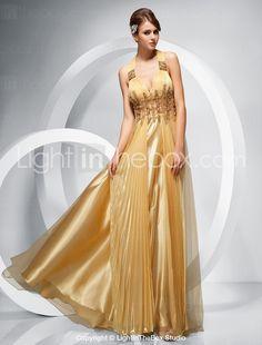 Sheath/Column Straps Floor-length Chiffon Tulle Evening Dress - US$ 249.99
