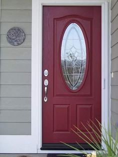 Grey siding! BIG WHITE TRIM! :)..Red door..