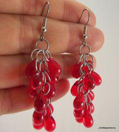 Red Glass Shag Earrings Aluminum Earrings by JSWMetalWorks on Etsy, $19.00  #aluminum #earrings