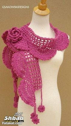 Items similar to Collette Scarf- Shawl-Pink on Etsy Knit Or Crochet, Crochet Scarves, Crochet Shawl, Crochet Crafts, Crochet Clothes, Crochet Stitches, Crochet Projects, Crochet Patterns, Crochet Accessories