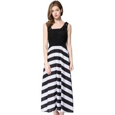 Striped Sleeveless Scoop Neck Floor Length Women s Dress (41 BAM) ❤ liked on Polyvore featuring dresses, no sleeve dress, scoop-neck dresses, scoop neck dress, striped dress and scoop neck sleeveless dress