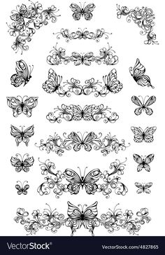 Vector floral patterns with butterflies. Vintage nature page dividers and decorations with butterflies isolated on white background. Ornate elements for your design. Back Tattoo Women, Rose Tattoos For Women, Rosary Bead Tattoo, Tramp Stamp Tattoos, Swirl Tattoo, Bullet Journal Banner, Nail Art Stamping Plates, Butterfly Illustration, Butterfly Tattoo Designs