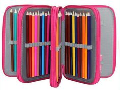 Waterproof 72 Holders 4 Layers Canvas School Pencil Cases, Large Solid Color Large Capacity Colored Pens Bags Box Stationery #Affiliate