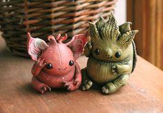 Little Forest Water Spirits figure - Oksolotl and Turtle Matamata figurine,turtle statuette,forest monster