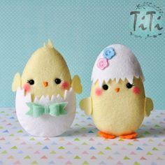 Easter cute felt ornaments set of 2, Easter decor, easter ornaments, felt eggs , Easter decoration, Felt chicken, pastel easter eggs
