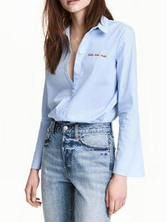 #AdoreWe #JustFashionNow yinbo❤️Designer Womens Lucky Break Blue Embroidered Stripes Blouse - AdoreWe.com
