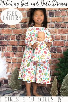 girl and doll matching dress free sewing patterns and tutorial from Life Sew Savory with Brother Sews {AD}