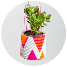 Image of Woven Bead Planter (white w orange & pink triangles) - Peaches + Keen Triangles, Hanging Vases, Arts And Crafts, Diy Crafts, Diy Planters, Bead Weaving, Perler Beads, Plant Hanger, Planting Flowers
