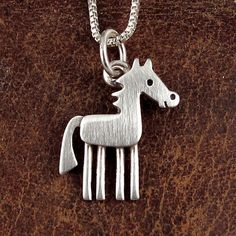 Sterling Silver Womens 1mm Box Chain Standing Pony Colt Horse Pendant Necklace