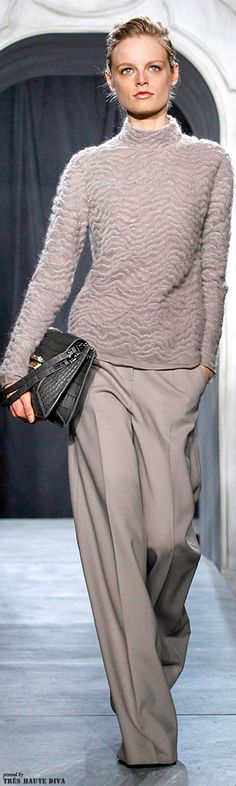 Jason Wu~  Fall/Winter 2014 RTW.  Neutrl power.  Sleek, sophisticated, and the texture of the sweater add interest.