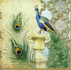 4 x Single Luxury Paper Napkins for Decoupage and Craft  Vintage Peacock