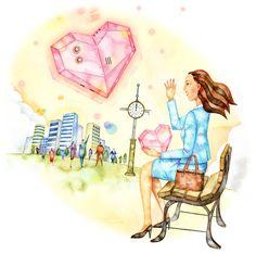 ベンチに座る女性のイラスト