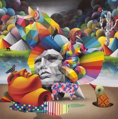 Okuda Glazes the Gray // Winter 2019 Okuda, School Painting, Graffiti Artwork, Chalk Art, Land Art, Street Artists, Surreal Art, Art Images, Renaissance