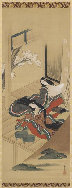 """Japnese hanging scroll, depicturing """"Early Ferns"""" chap 48 of Genji tale, 1810"""