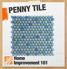 Penny tile, or penny round, is a type of popular mosaic tile which combines small round tiles, each about the size of a penny. Penny tiles are often associated with historic homes, where they were commonly used as bathroom flooring, but today they can be found in kitchen backsplashes, shower enclosures, and even fireplace surrounds. #101