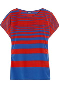 DKNY Striped Silk Stretch Top