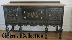 Chrissies Collection - Coming Soon~ Carved buffet in General Finishes Lamp Black