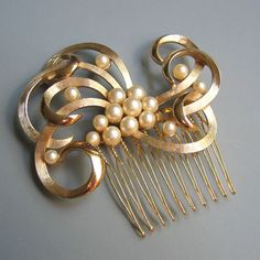 Swirls of Pearls and Gold Hair Comb. $105.00, via Etsy.