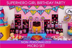 Superhero Girl Birthday Party Package Collection Set by LeeLaaLoo, $19.00
