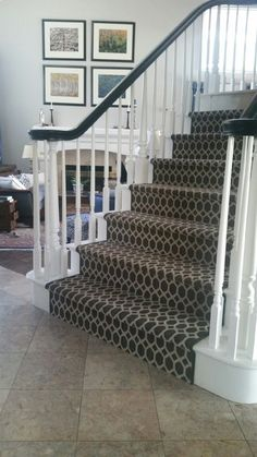 New Ideas For Striped Stairs Carpet Painted Staircases Staircase Runner, Wood Staircase, Staircase Remodel, Staircase Makeover, Staircase Design, Craftsman Staircase, Painted Staircases, Painted Stairs, Textured Carpet