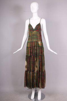 Jean-Paul Gaultier Mesh Plaid Multi-Tiered Maxi Dress W/Digital Face Print 1990