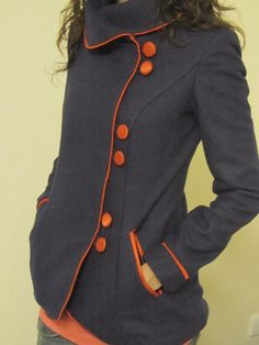 gray coat with orange buttons on the side