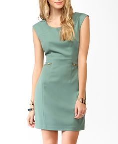 Sea Green zipped shift dress and looks great in Ivory too. Forever 21 Love it! had to buy it :D